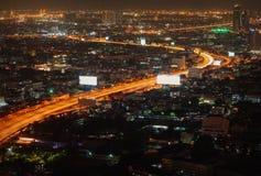 Night Bangkok bird`s-eye view. Night street skyline Stock Photo