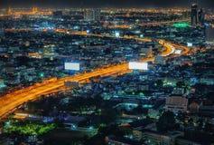 Night Bangkok bird`s-eye view. Night street skyline Royalty Free Stock Photography