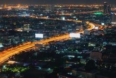 Night Bangkok bird`s-eye view. Night street skyline Stock Image