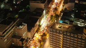Night bangkok city hotel roof top traffic street panorama 4k time lapse thailand stock video