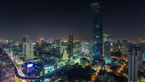 Night bangkok downtown silom roof top panorama 4k time lapse thailand stock video footage