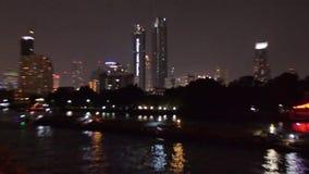 Night Bangkok. River stock video footage