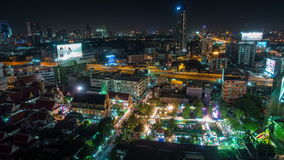 Night bangkok street city fairy roof top view 4k time lapse thailand stock footage