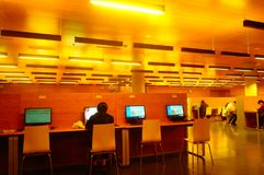 Shenzhen, China: the interior landscape of the library at night. At night, Baoan library interior landscape, readers are still reading, or access to the internet royalty free stock image