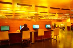 Shenzhen, China: the interior landscape of the library at night. At night, Baoan library interior landscape, readers are still reading, or access to the internet stock photo