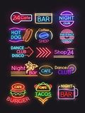 Night bar, burger, coffee, cafe neon signs set. Night bar and burger coffee, cafe neon signs set. Vector illustration Stock Image