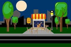 Night bar, cafe . The Park in the evening . vector . royalty free illustration