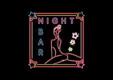 Night Bar Neon Glowing Sign. Night Bar Neon Glowing Vector Signs  On The Black Background Royalty Free Stock Photography