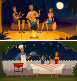 Night Barbecue Party Cartoon Retro Banners royalty free illustration