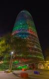 Night Barcelona Agbar Tower. Night photography of modern building, Barcelona Agbar Tower Stock Photos