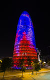 Night Barcelona Agbar Tower. Night photography of modern building, Barcelona Agbar Tower Royalty Free Stock Images