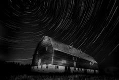 Night Barn Star Trails Stock Photo