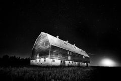 Night Barn Star Trails Stock Images