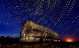 Night Barn Star Trails Stock Photography