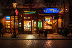 Night bars and shops on the streets of Krakow Royalty Free Stock Image