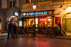 Night bars and shops on the streets of Krakow Stock Photography