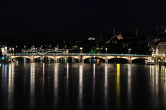 Night of Basel, Switzerland. The night of Basel city, Switzerland. Including the Mittlere Bridge, the main bridge for the Rhein River in Basel city. The river in Stock Photos