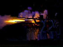 Night Battle. FORT ERIE, ONTARIO/CANADA- August 11: British Soldiers fire on the fort August 11, 20012 in Fort Erie. The night battle was part of the 2012 Siege royalty free stock photography