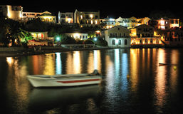Night in the bay. The tiny village of Assos, Kefalonia, Greece at night Stock Image