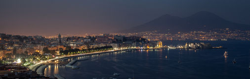Night bay of Naples Stock Photos