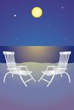Night at the beach. Two deck chairs on the night beach Royalty Free Stock Photos