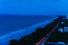 The night beach and blue sky at beautiful it is rayong. stock image