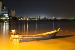 Night beach At Huahin Thailand. Boat on night beach At Huahin Thailand Royalty Free Stock Images