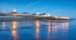 Night beach landscape. In Tywyn, Wales Stock Photography