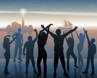 Night beach party background. Vector illustration of night beach party background Stock Photo