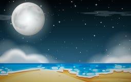 A night beach scene. Illustration royalty free illustration