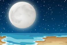 A night beach scene. Illustration stock illustration