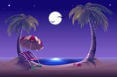 Night beach. Sea, moon, palm trees and sand. Romantic summer vacation Stock Photography