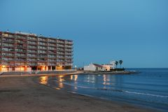 Night beach in Torrevieja Royalty Free Stock Images