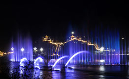 Night beat. Fair-sounding Music fountain and Charming light for City night life Royalty Free Stock Photo