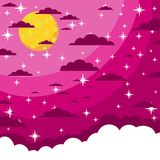 Night beautiful moonlit sky,  illustration Royalty Free Stock Photo