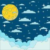 Night beautiful moonlit sky, vector illustration Royalty Free Stock Photos