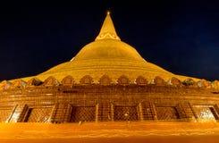 Night beautiful pagoda Thailand. Buddhist traditionally lighting of candle walk on Visakha Puja Day Royalty Free Stock Image