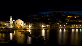 Night beauty of small town. Town Hvar in Croatia at dawn Stock Image
