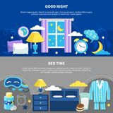 Night Bedtime 2 Flat Banners. Good night 2 flat horizontal bedtime banners with bed pajama nightstand lamp and alarm clock vector illustration Royalty Free Stock Photos
