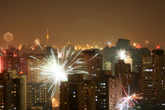 Night Beijing. On Eve Night, Beijing was lighten by fireworks Royalty Free Stock Photo