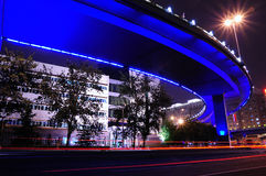 The night of Beijing. Beijing , lamp light in summer are also very charming , river bank inverted image, is reflecting florid lamp light Stock Photo