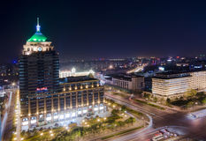 Night Beijing city. The Beijing city central cityscape ( bird - view night photo Royalty Free Stock Photo