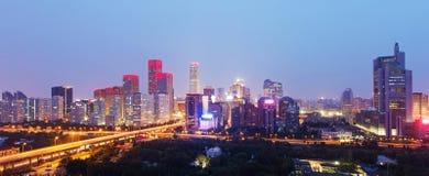 Night at Beijing. International trade building Royalty Free Stock Photography
