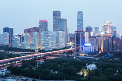 Night at Beijing. International trade building Stock Photography