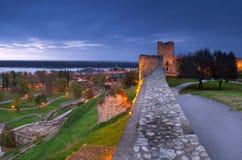 Night Belgrade. Night in Belgrade, capital city of Serbia. View of Kalemegdan fortess Stock Photos