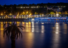 Night in Belgrade. Night view of Belgrade harbor from the river Royalty Free Stock Photography