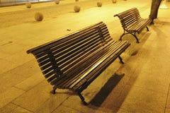 Night benches Stock Photo