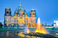 Night at Berlin Cathedral with fountain in Berlin city, Germany Stock Photos