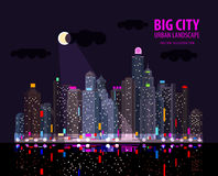 Night in the big city. Illuminated signs in the Stock Photos