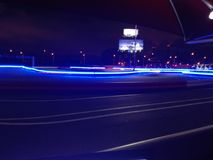 Night big kart racing road. Kart racing road in night Royalty Free Stock Image